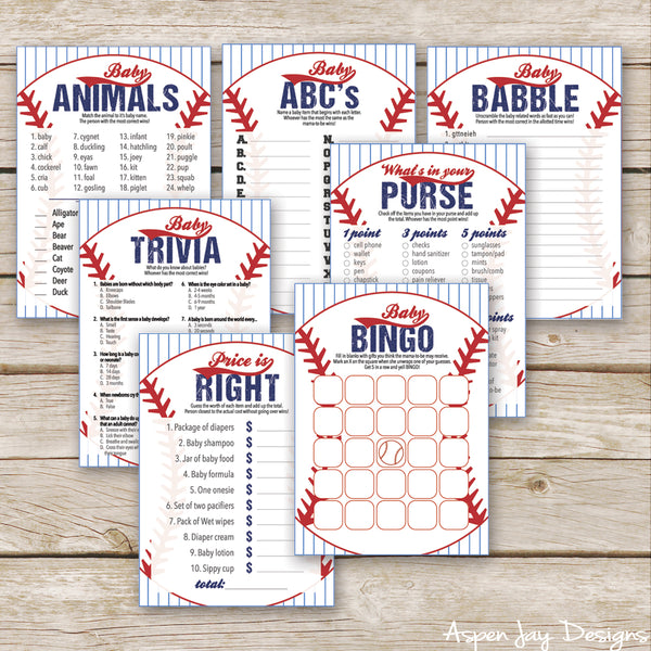 Baseball Baby Shower 7 Games Package