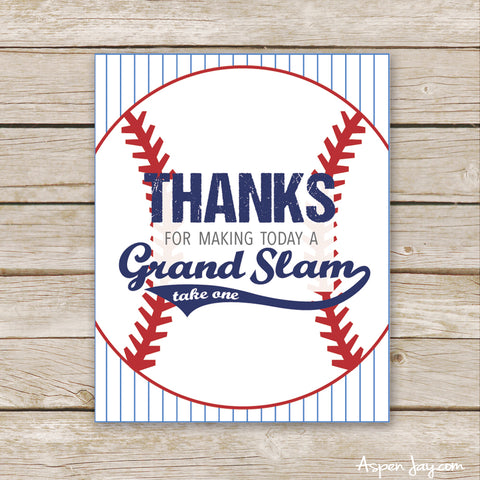 Baseball Favor Sign