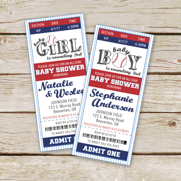 Baseball Baby Shower Invites