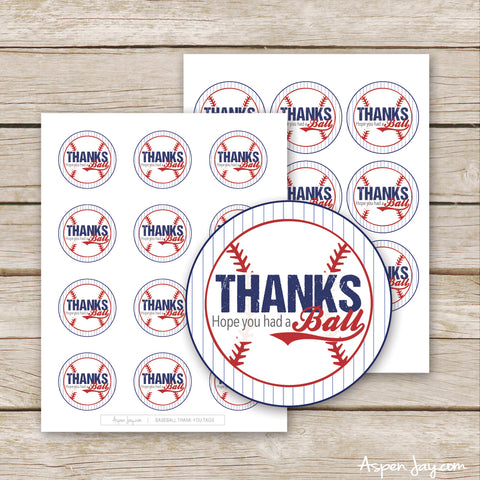 Baseball Thank You Tags