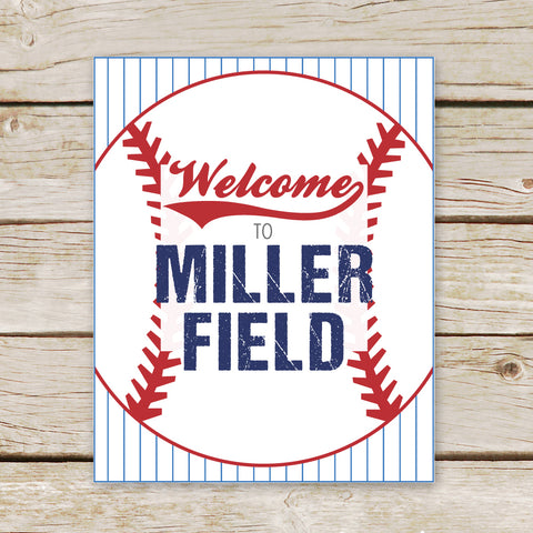 Baseball Personalized Welcome Sign