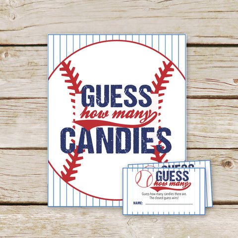 Baseball Guess How Many Candies