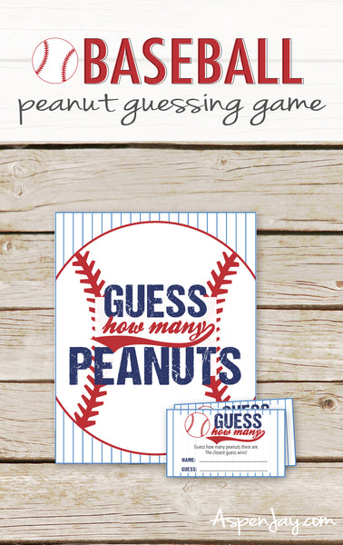Baseball Guess How Many Peanuts