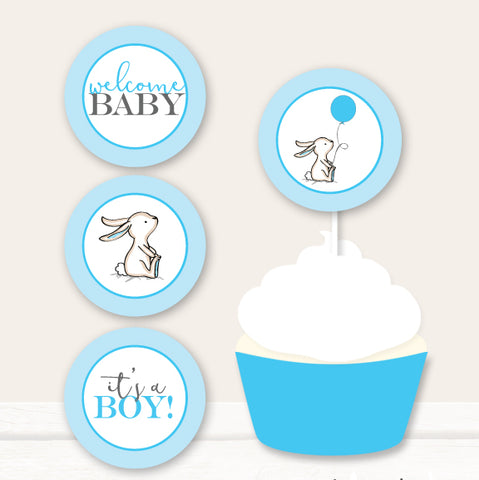Blue Bunny Cupcake Toppers