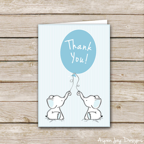 Blue Twin Elephant Thank You Cards