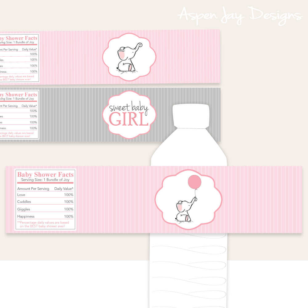 Pink Elephant Bottle Labels