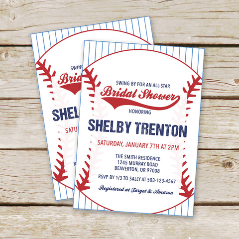 Baseball Bridal Shower Invites