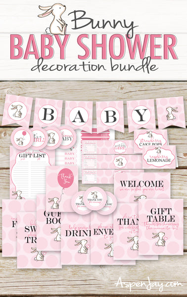 Pink Bunny Baby Shower Package