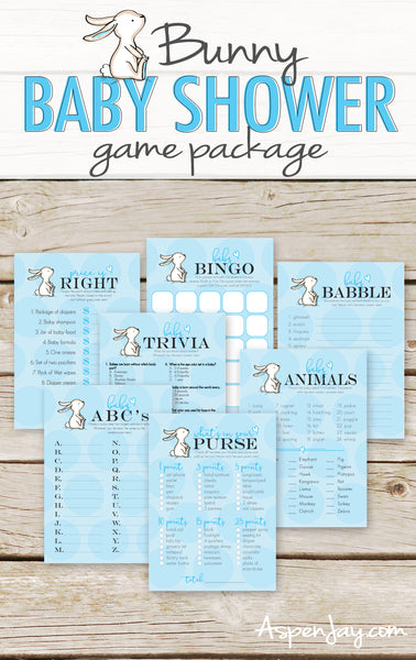 Blue Bunny 7 Baby Shower Games Package