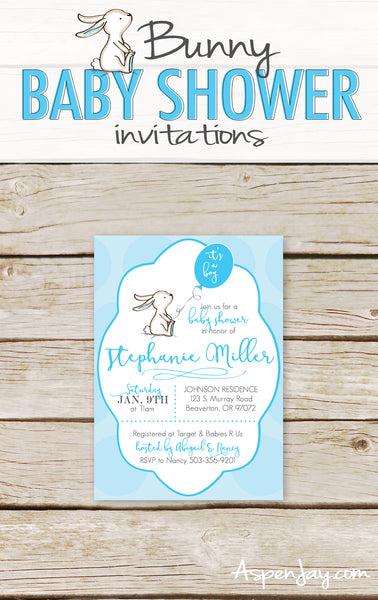 Blue Bunny Baby Shower Invites