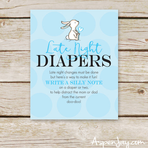 Blue Bunny Late Night Diapers Sign