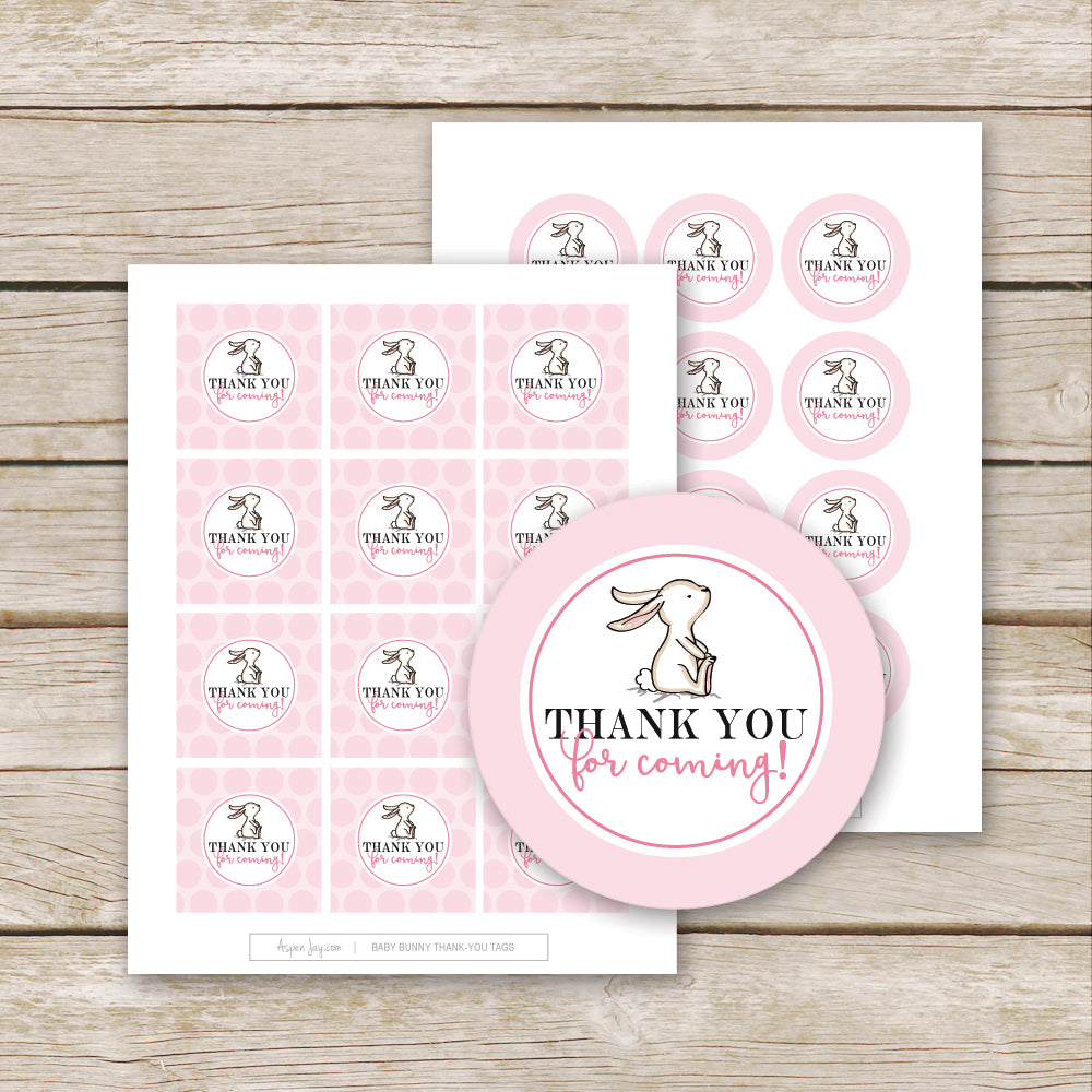 Pink Bunny Thank-You Favor Tags