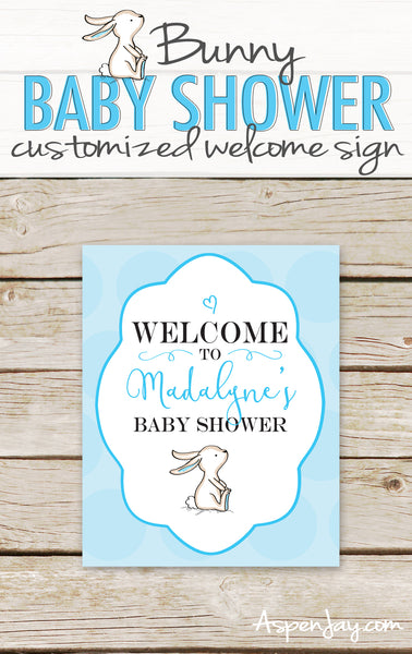Blue Bunny Shower Welcome Sign