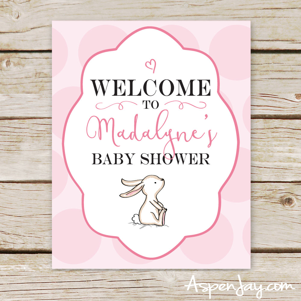 Pink Bunny Shower Welcome Sign