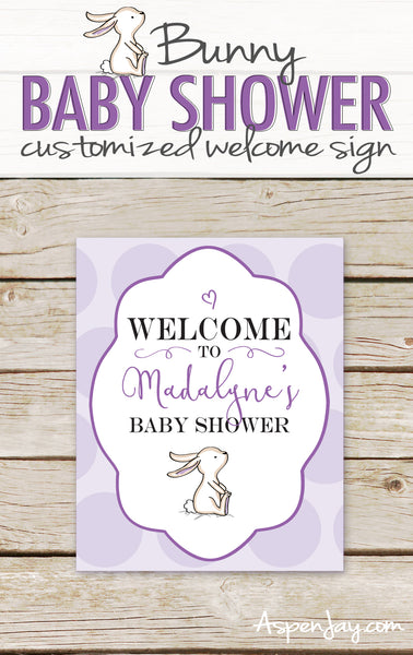 Purple Bunny Shower Welcome Sign