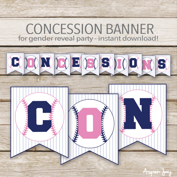 Pink & Blue Baseball Concession Banner