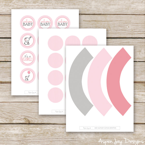 Pink Elephant Cupcake Toppers