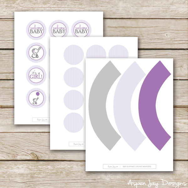 Purple Elephant Cupcake Toppers