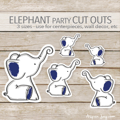 Navy Elephant Cut Outs