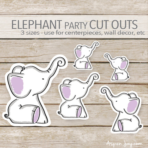 Purple Elephant Cut Outs