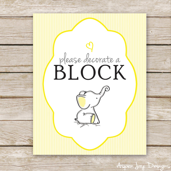 Yellow Elephant Decorate a Block Sign