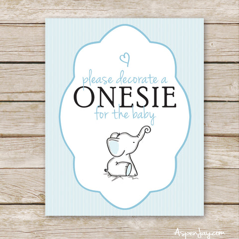 Blue Elephant Decorate a Onesie Sign
