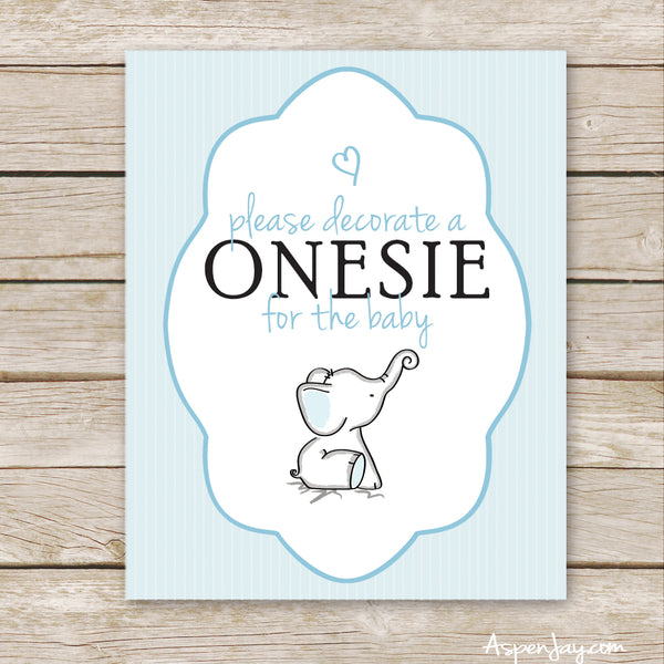 Blue Elephant Sign the Onesie Sign