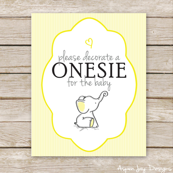 Yellow Elephant Sign the Onesie Sign