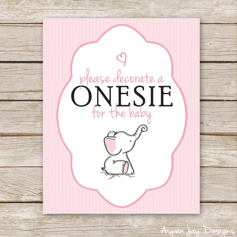 Pink Elephant Decorate a Onesie Sign
