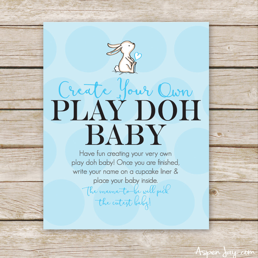 Blue Bunny Play Doh Baby Sign
