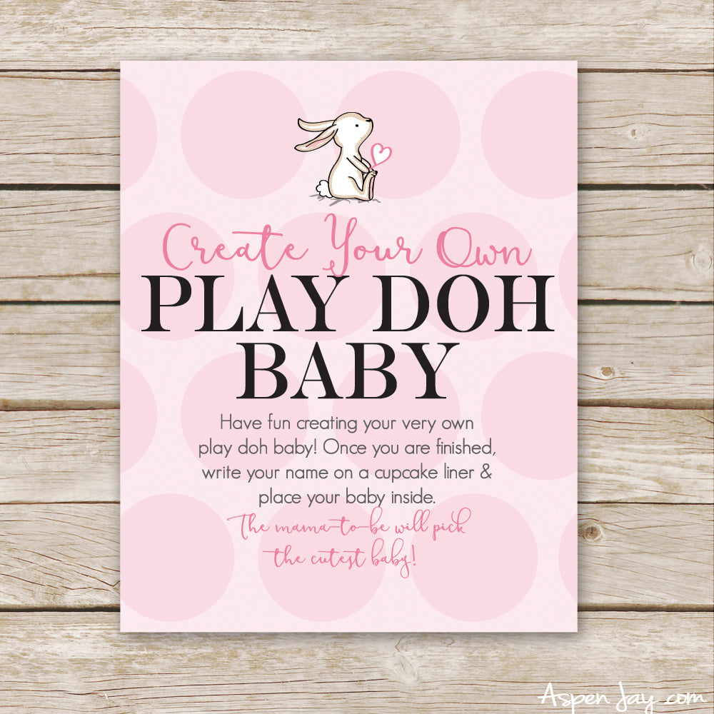 Pink Bunny Play Doh Baby Sign