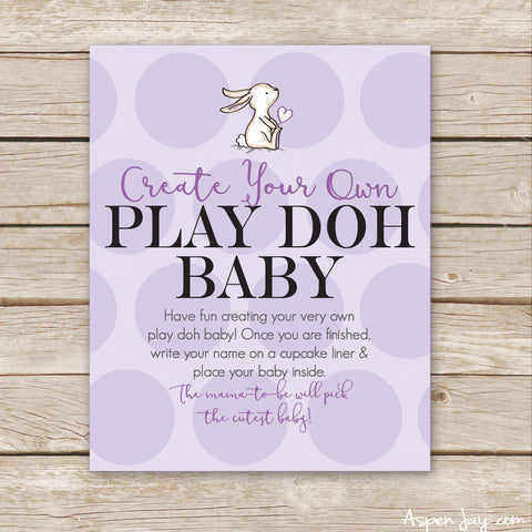 Purple Bunny Play Doh Baby Sign