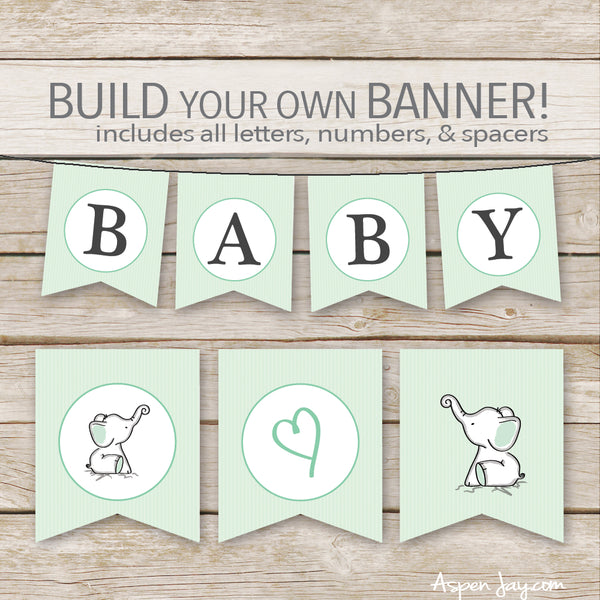 Green Elephant Banner - ALL Letters & Numbers