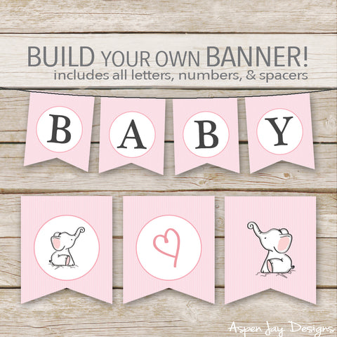 Pink Elephant Banner - ALL Letters & Numbers