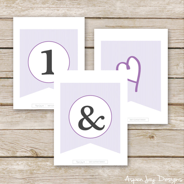 Purple Elephant Banner - ALL Letters & Numbers