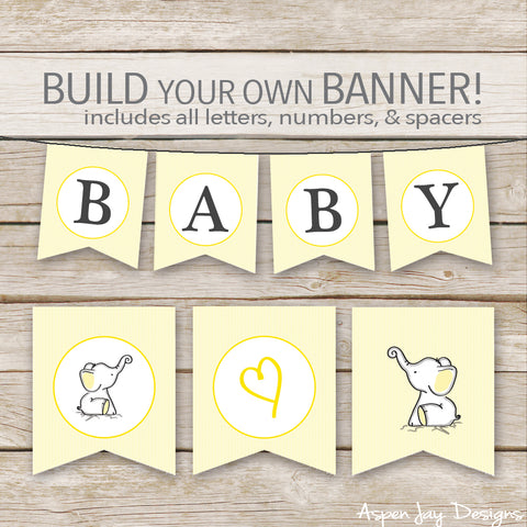 Yellow Elephant Banner - ALL Letters & Numbers
