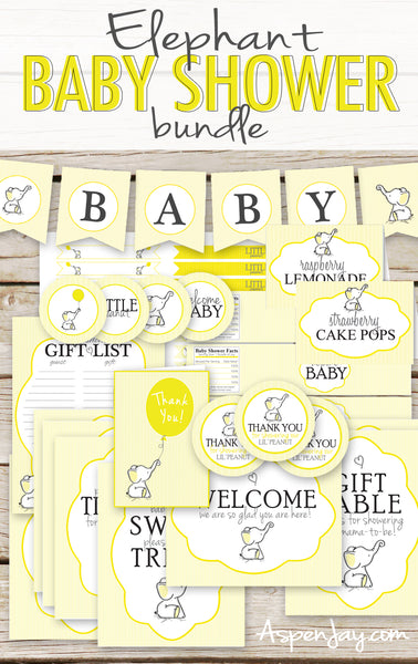 Yellow Elephant Baby Shower Decor Package