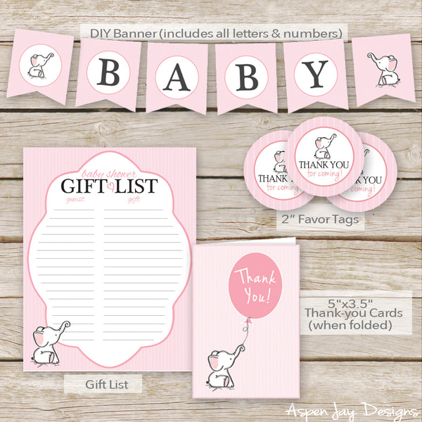 Pink Elephant Baby Shower Decor Package