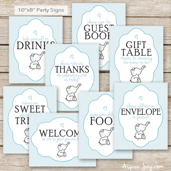 Blue Elephant Baby Shower Decor Package