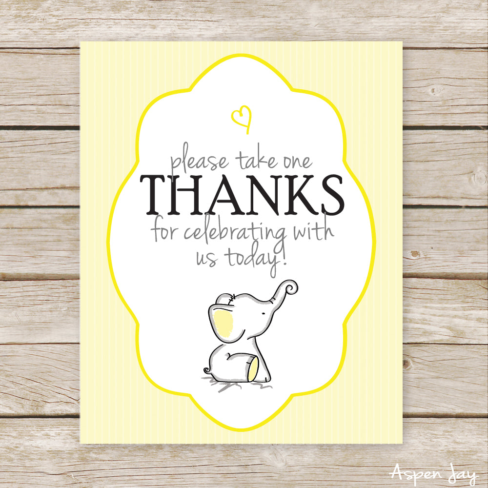 Yellow Elephant Favor Sign