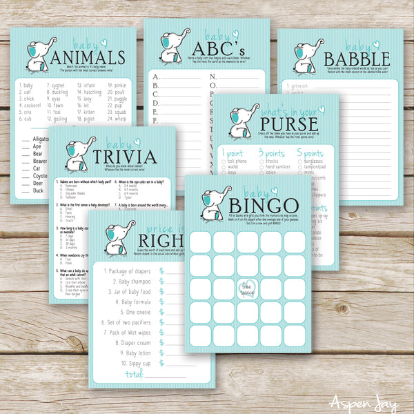 Turquoise Elephant 7 Baby Shower Games Package