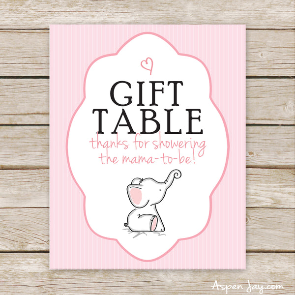 Pink Elephant Gift Table Sign