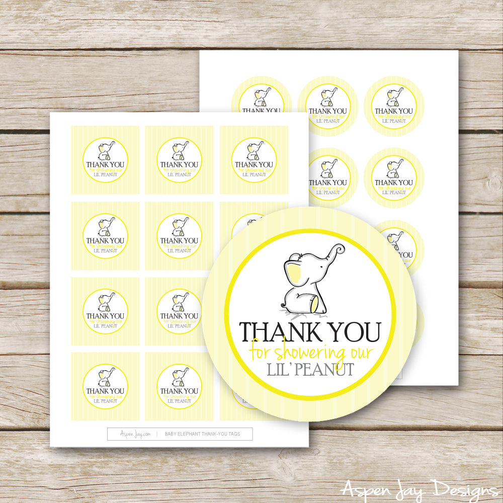 Yellow Elephant Shower Favor Tags