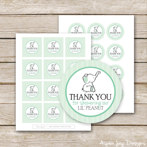 Green Elephant Baby Shower Favor Tags