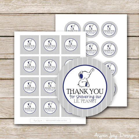 Navy Elephant Shower Favor Tags