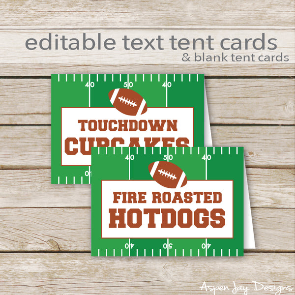 Editable Football Party Labels