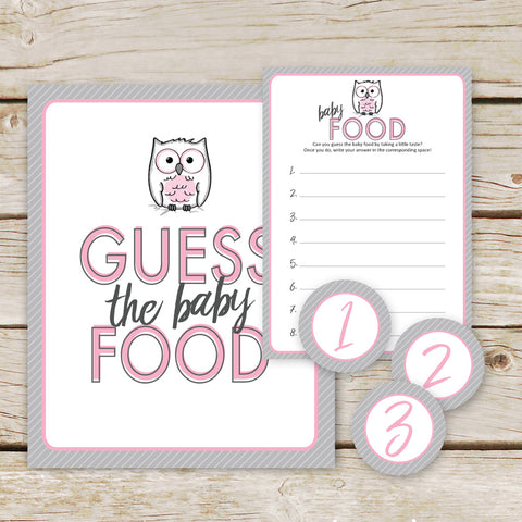 Pink Owl Guess the Baby Food