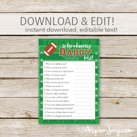 Football Who Knows Daddy Best - editable text