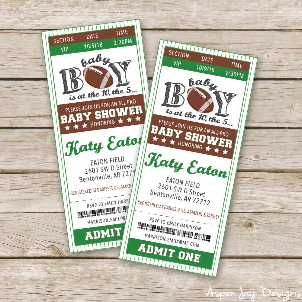 Football Baby Shower Invites