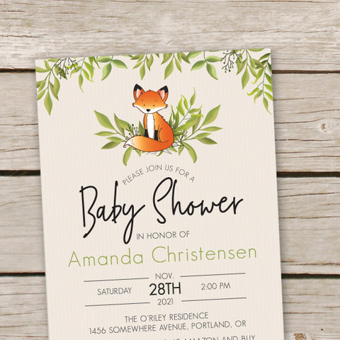 Fox Baby Shower Invites